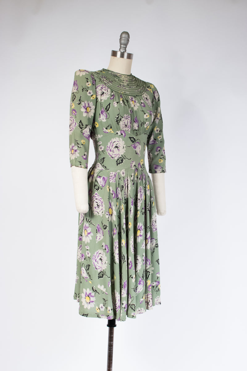 Exceptional Early 1940s Rayon Floral Dress with Piping and Mesh Neckline