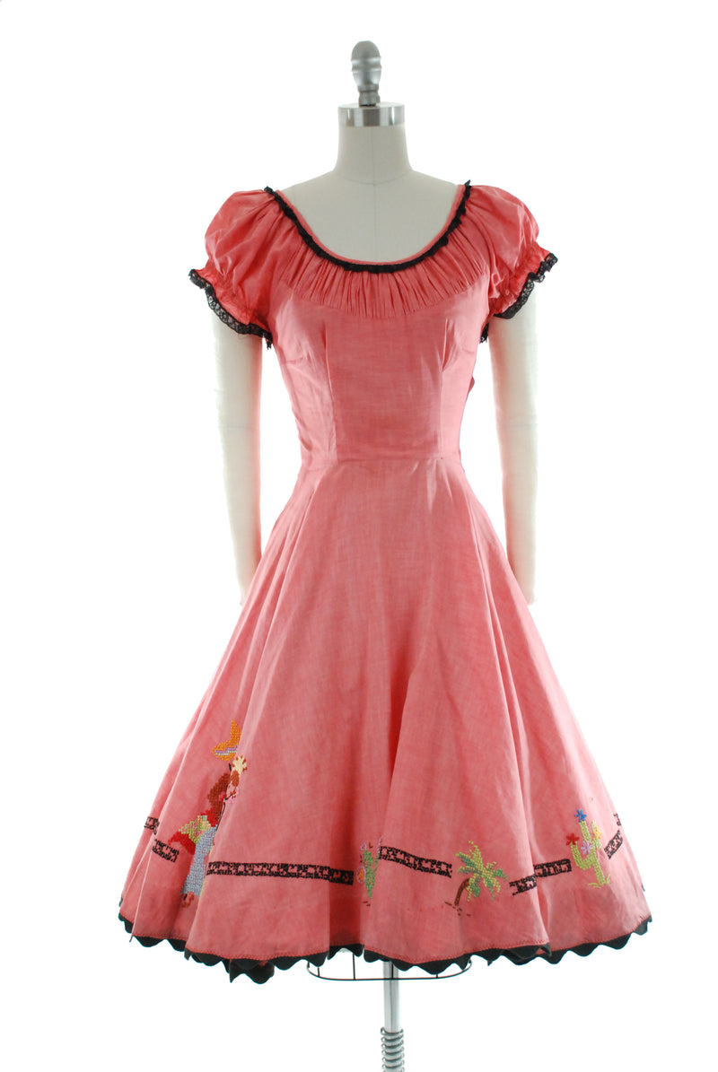 Gorgeous Late 40s Embroidered Patio or Peasant Dress with Novelty Border One of a Kind
