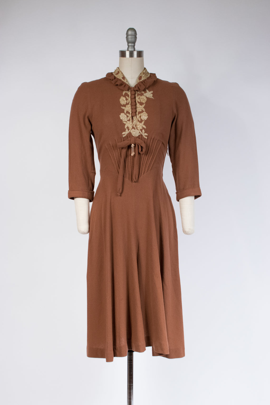 RESERVED Splendid Late 1930s Trapunto Wool Dress with Floral Applique