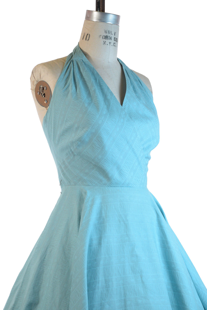 Aqua Colored 1950s Cotton Halter Sundress with Circle Skirt and Tulip Print