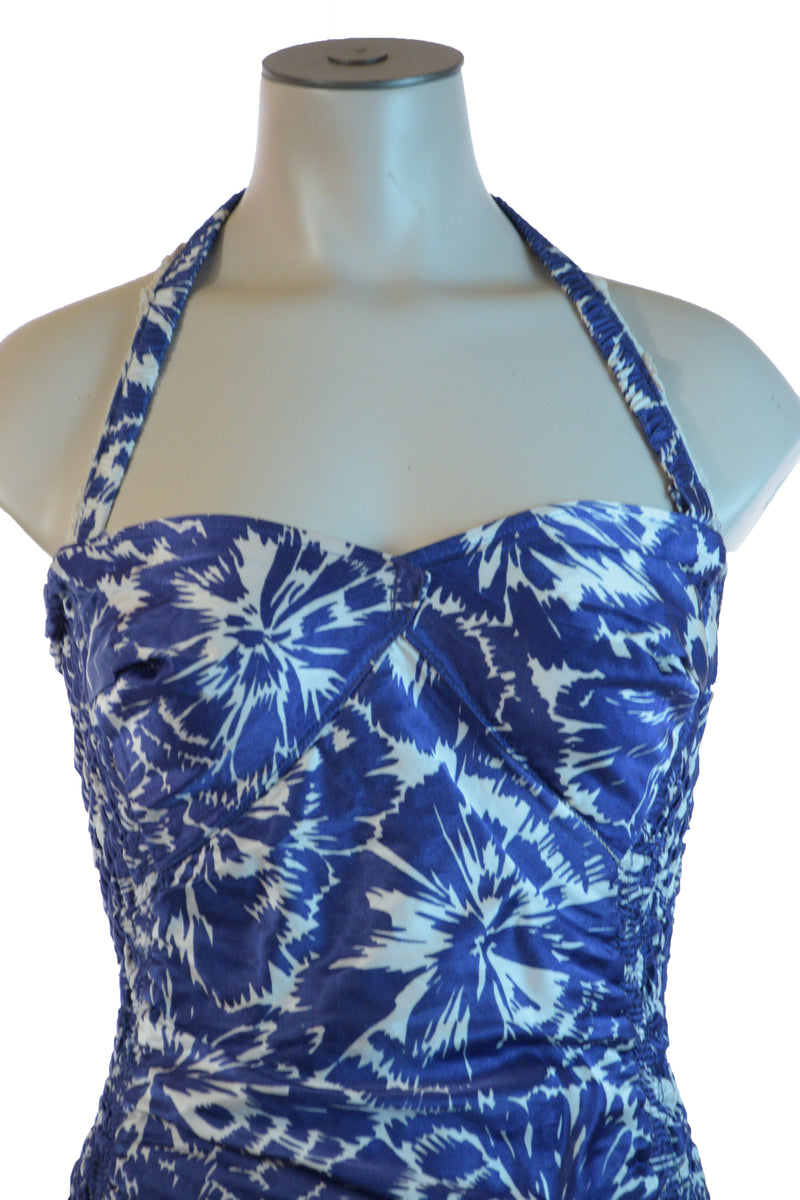 Gorgeous 1940s British Made Martin White Bathing Suit in Ruched Printed Satin