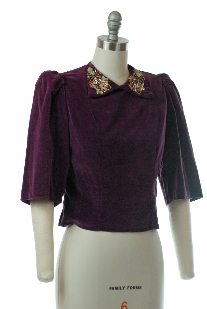 Rich 1930s Cotton Velveteen Blouse with Sequined Trim and