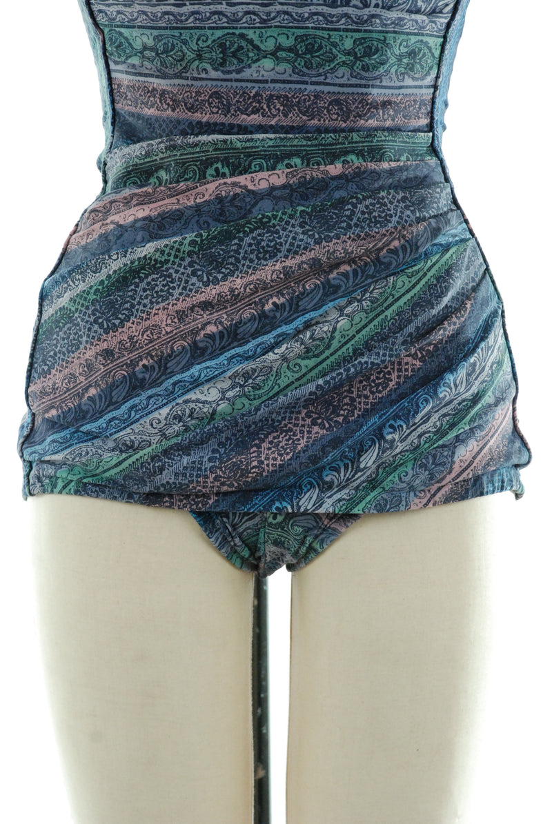 Fantasic 1950s Draped Maillot Bathing Suit in Multi Stripes Perfection Fit by Roxanne