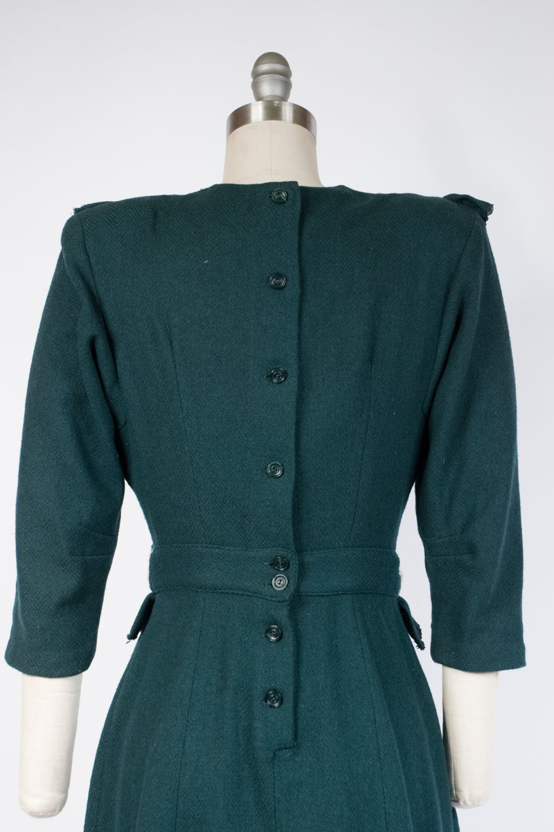 Charming Early 1940s Junior's Wool Dress in Forest Green Herringbone with Peplum