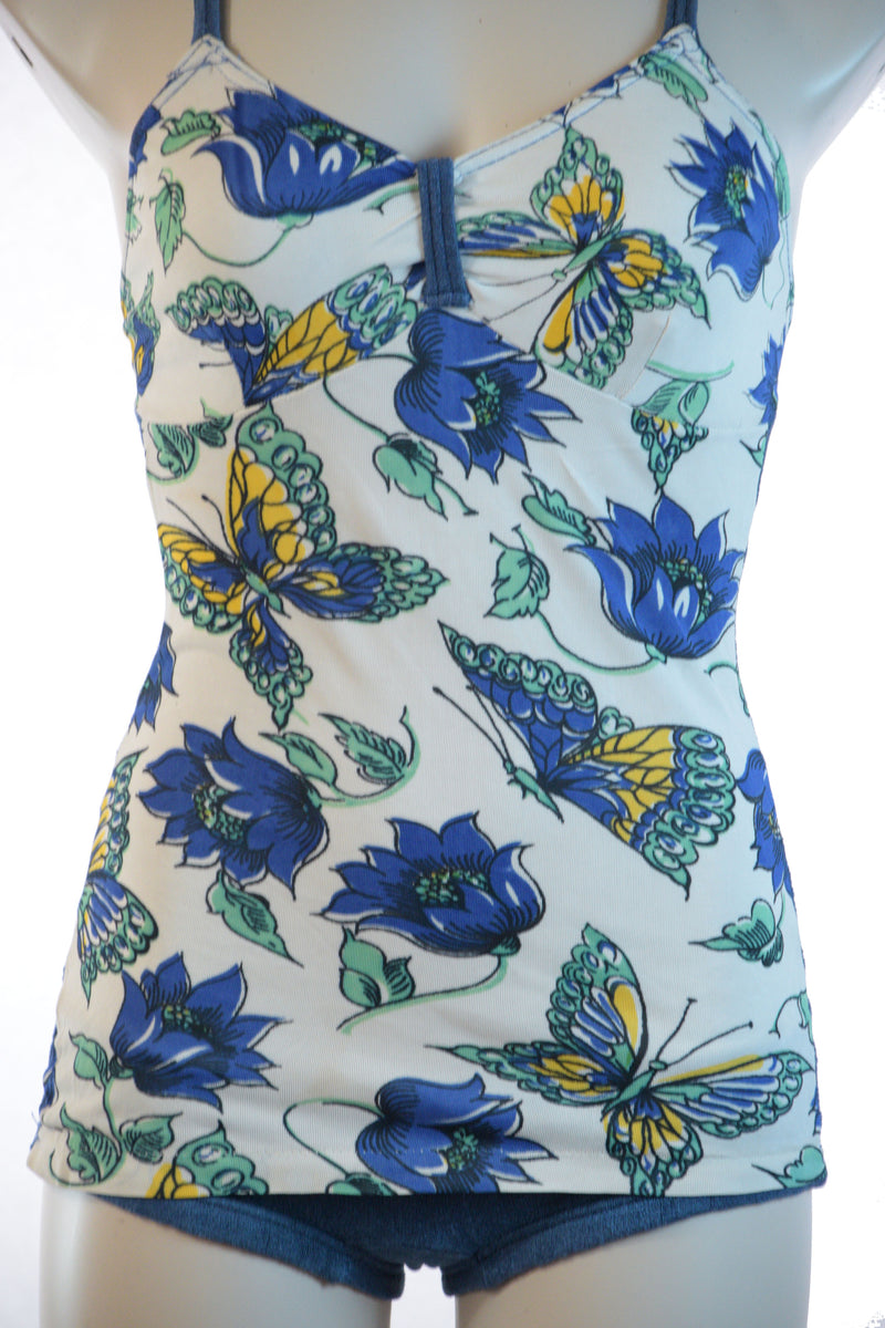 Fantastic Late 1930s Rare Rayon Jersey and Terry Lastex Bathing Suit with Butterfly and Floral Print