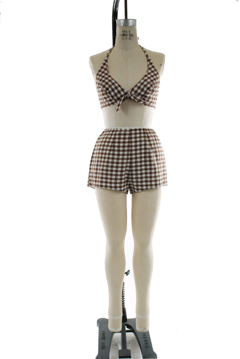 Cute 1970s Two Piece Gingham Bikini Top Bathing Suit in Brown and White