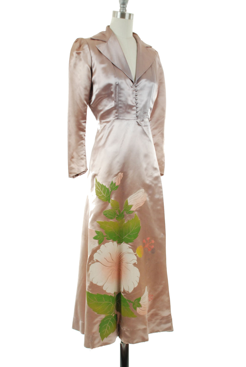 Gorgeous 1950s Satin Hostess Dress with Screen Printd Hawaiian Floral Wrap Style Robe