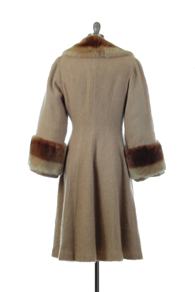 Gorgeous 1940s Boucle Wool Princess Coat with Mouton Collar and Cuffs