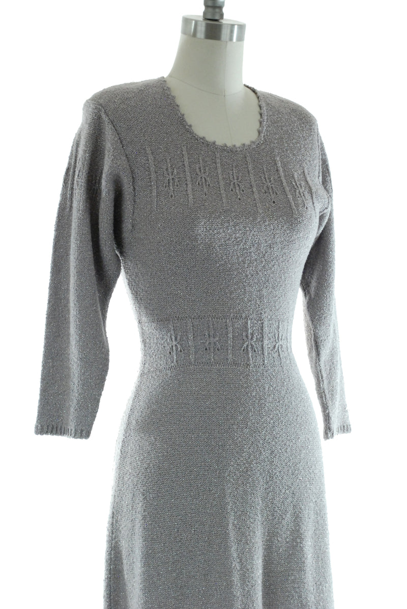 1950s Snyderknit Sweater Dress in Pewter Grey with Sparkling Silver Lurex