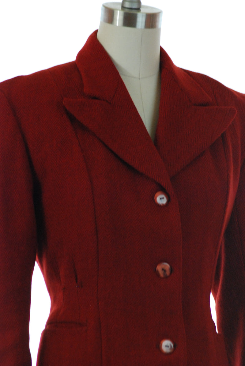 Smart 1940s Red Tweed Jacket