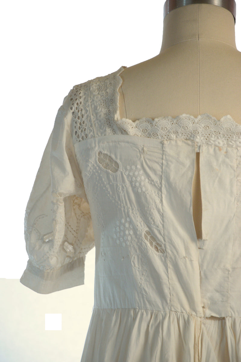 Unusual Restyled Cotton Dress Made of Victorian Textile with Hand Embroidery