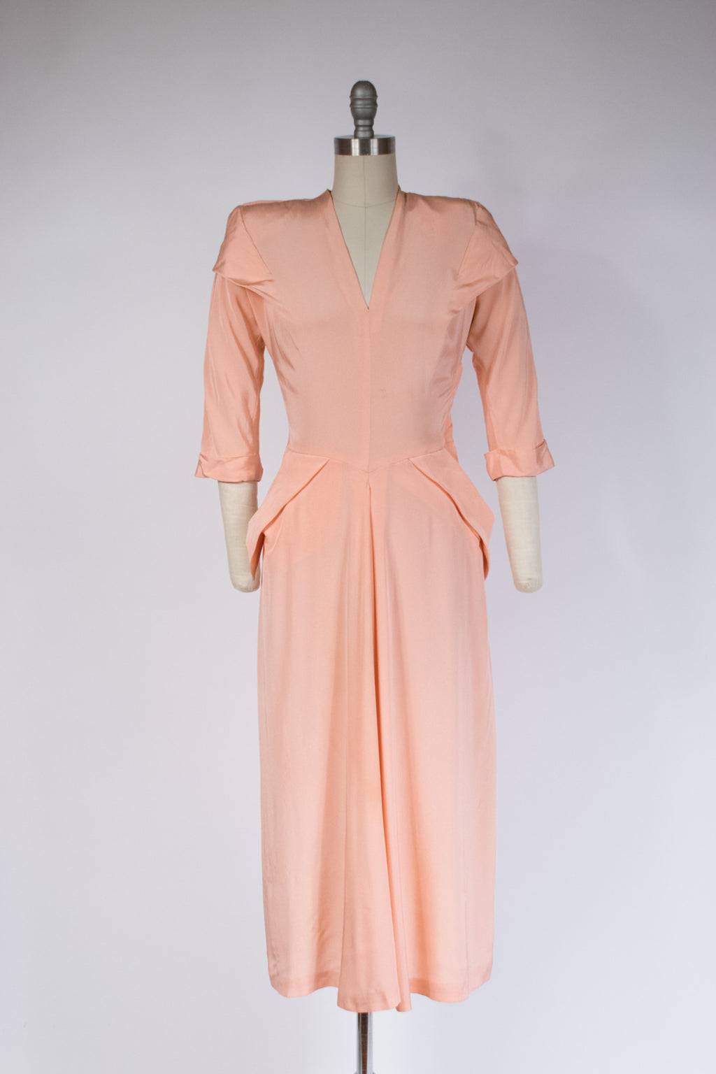 Rare Early 1950s Lilli Diamond Draped Cocktail Dress with Killer Shoulder Pads