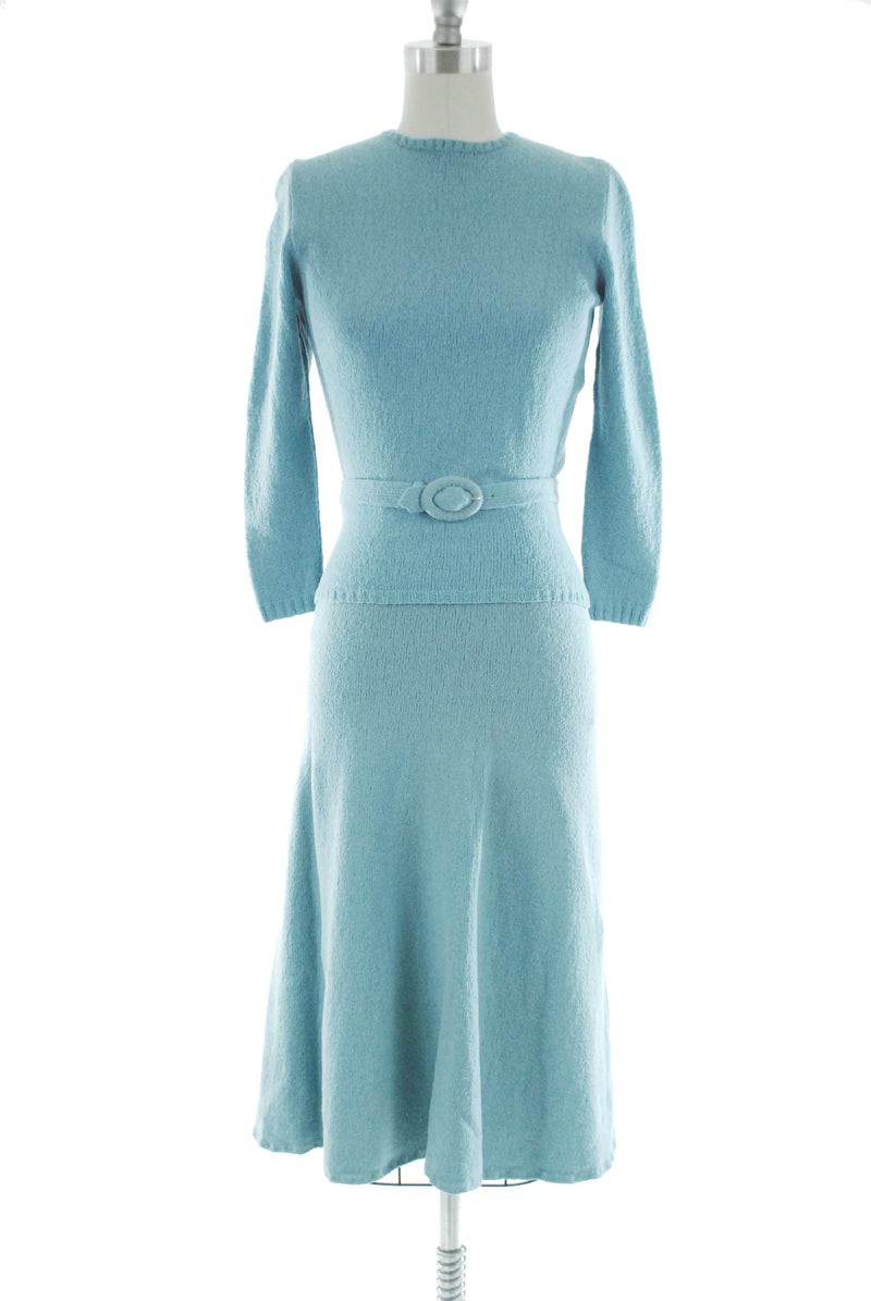 Rare 1940s Silk Boucle Sweater and Matching Skirt Set in Tiffany Blue