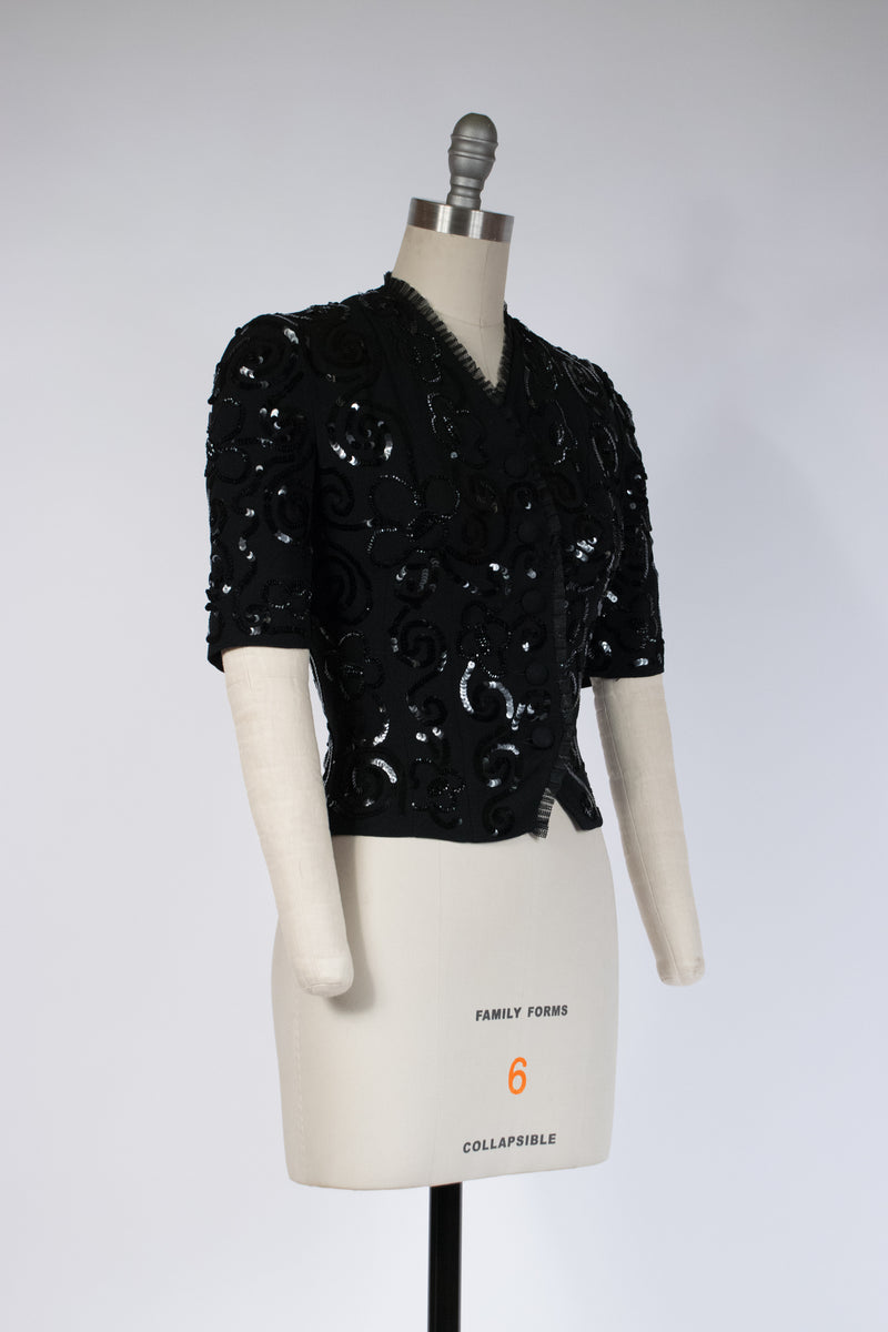 Gorgeous Late 1930s/Early 40s Sequined Evening Blouse with Short Sleeves