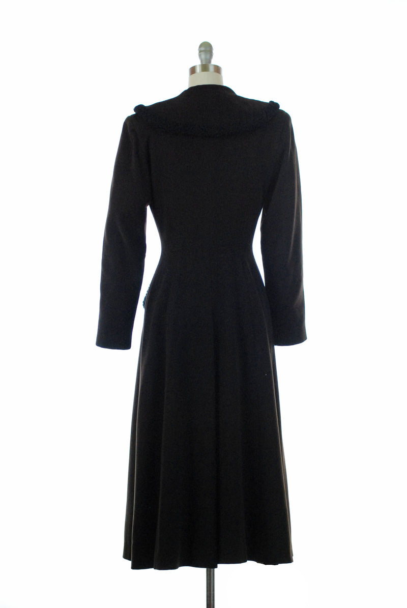 Dramatic 1950s Dark Brown Princess Coat with Astrakhan Lamb Trim