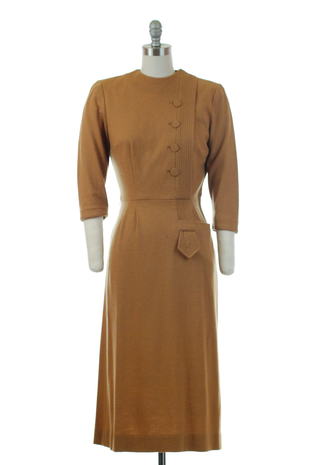 Classic 1950s Mustard Wool Dress with Bodice Accents