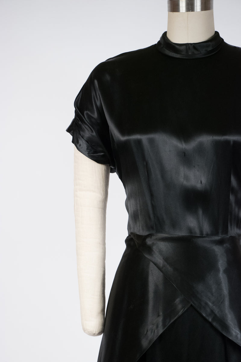 Femme Fatale Late 1940s Draped Satin Cocktail Dress with Draped Back