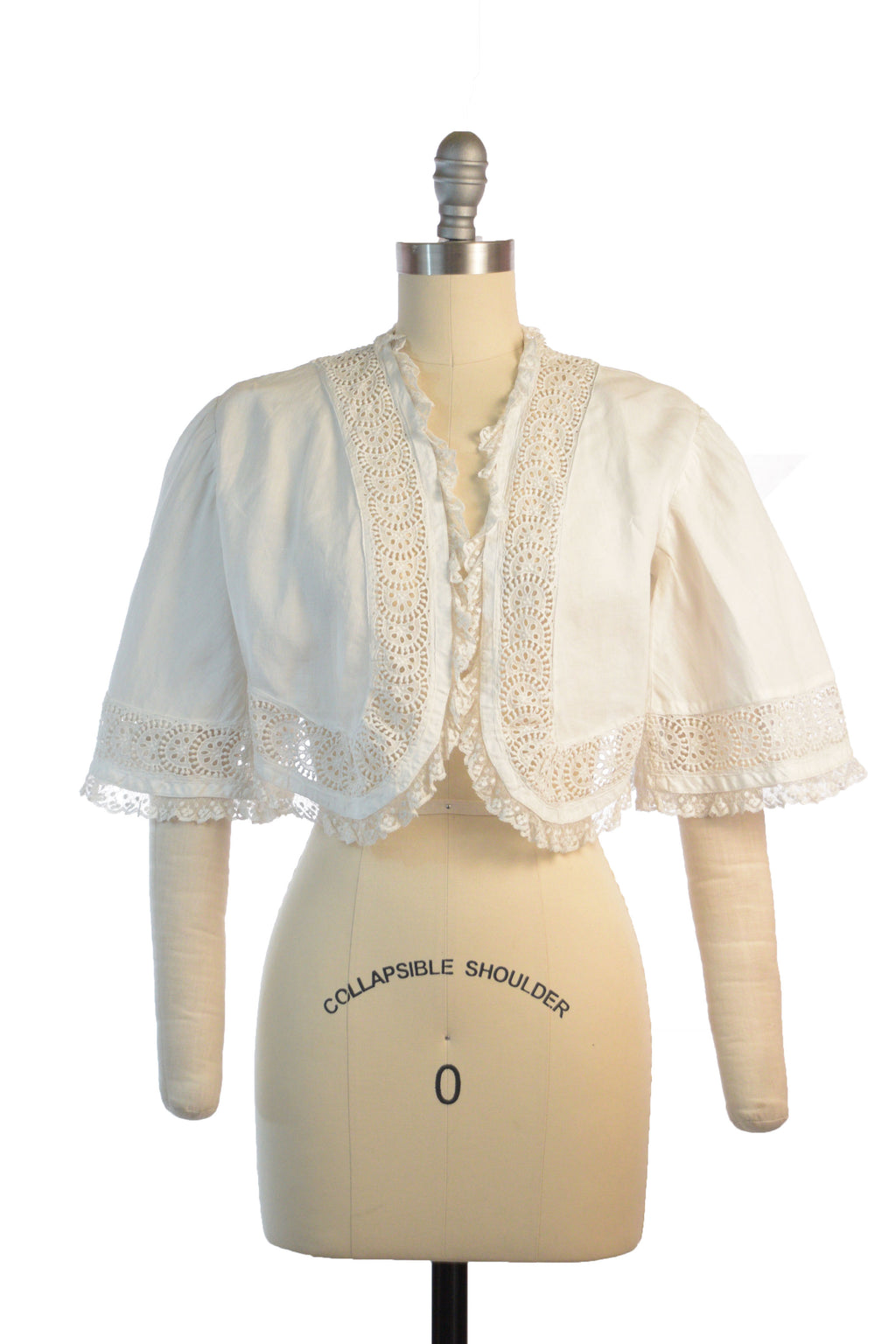 Charming c.1860s Style Cropped Pagoda Sleeve White Cotton Summer Jacket