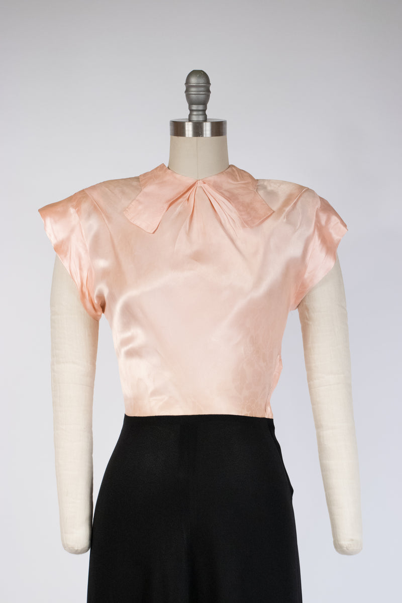 Sultry 1940s Color Block Cocktail Dress in Pink Satin and Black Rayon Crepe.