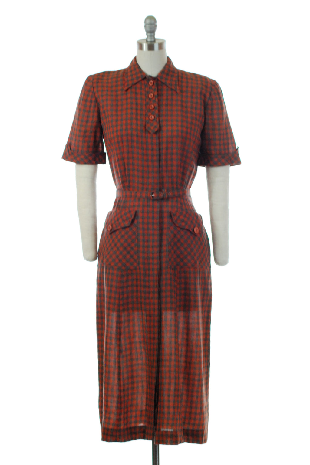 Charming 1940s Checkered Plaid Wool Dress in Coral and Grey