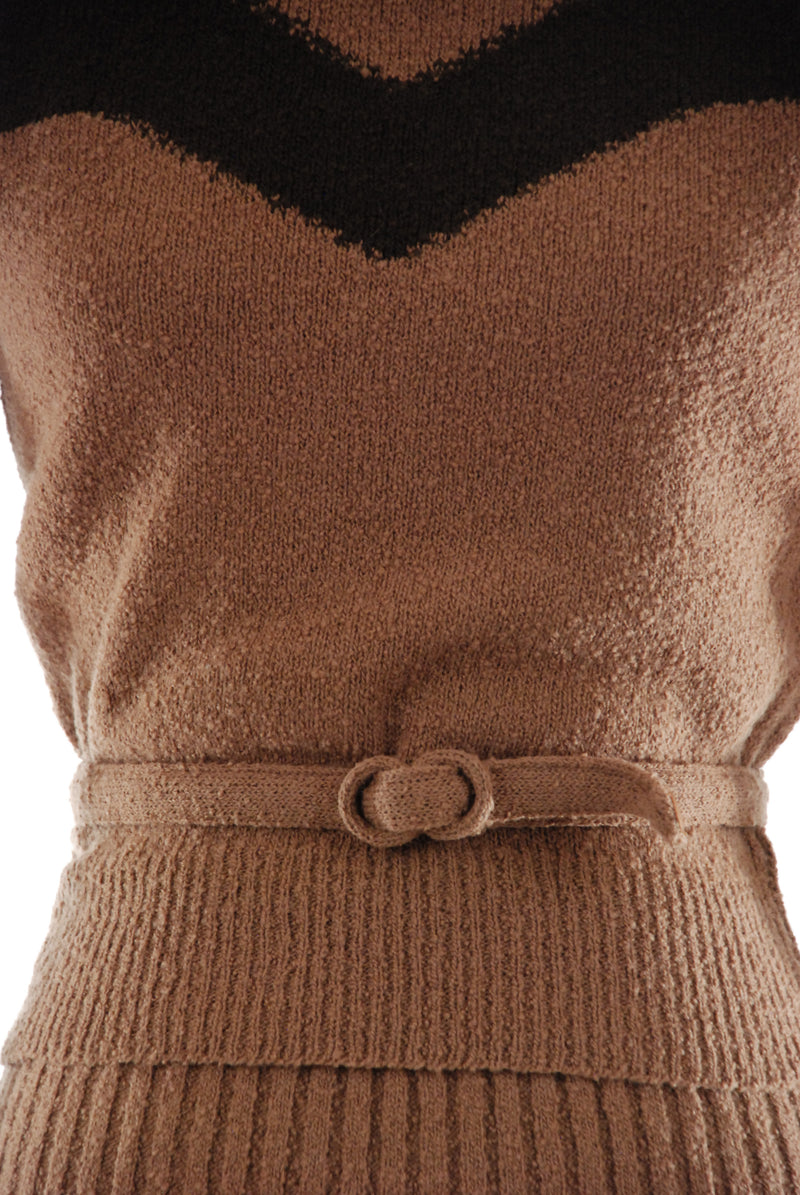 1950s Brown Colorblock Sweater Set in Wool with Angora Trim by Nan Dorsey