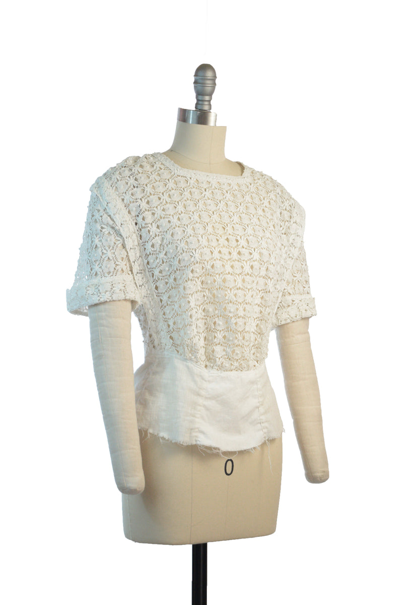 Striking 1910s Fully Crocheted White Blouse with Short Sleeves.