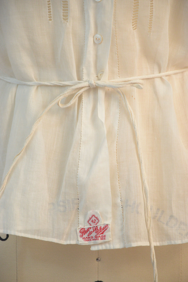 Beautiful 1910s White Cotton Blouse with Pintuck Pleats and Faggotting Accents