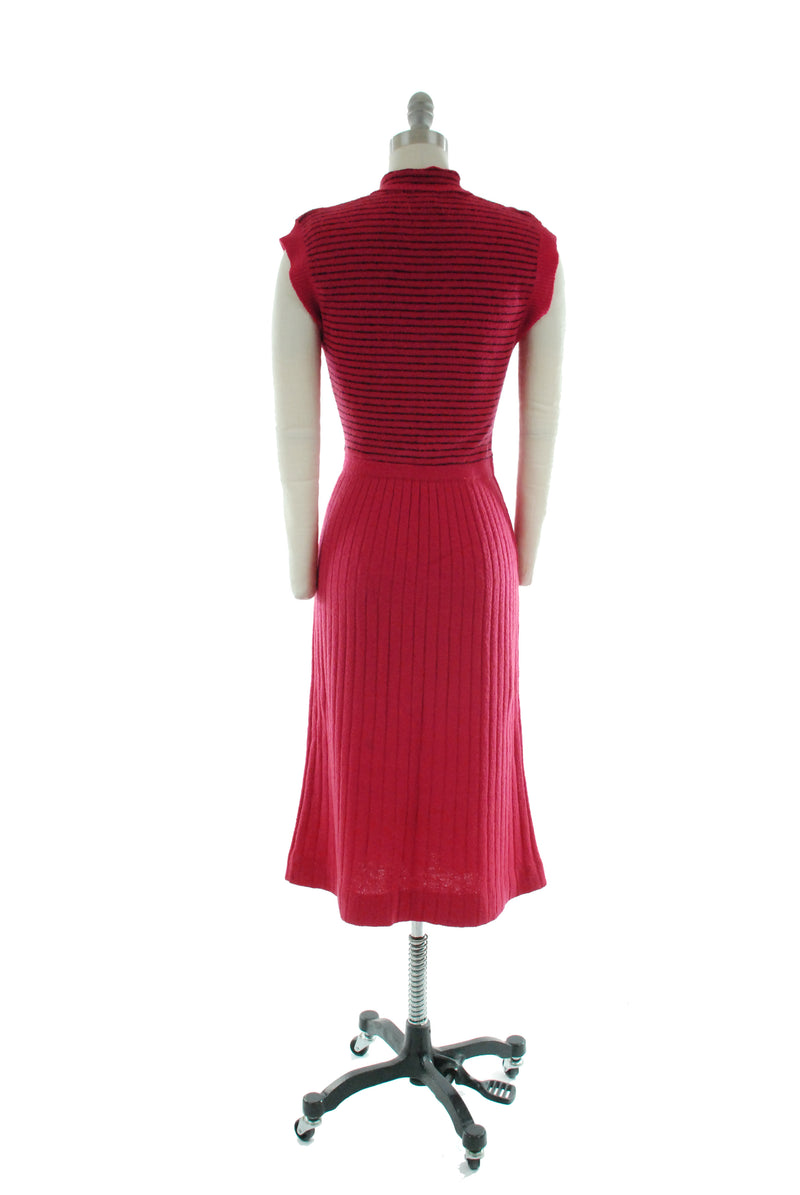 Killer 1950s Red Knit Sweater Dress with Black Striped Bodice and Flare Knit Ribbed Skirt
