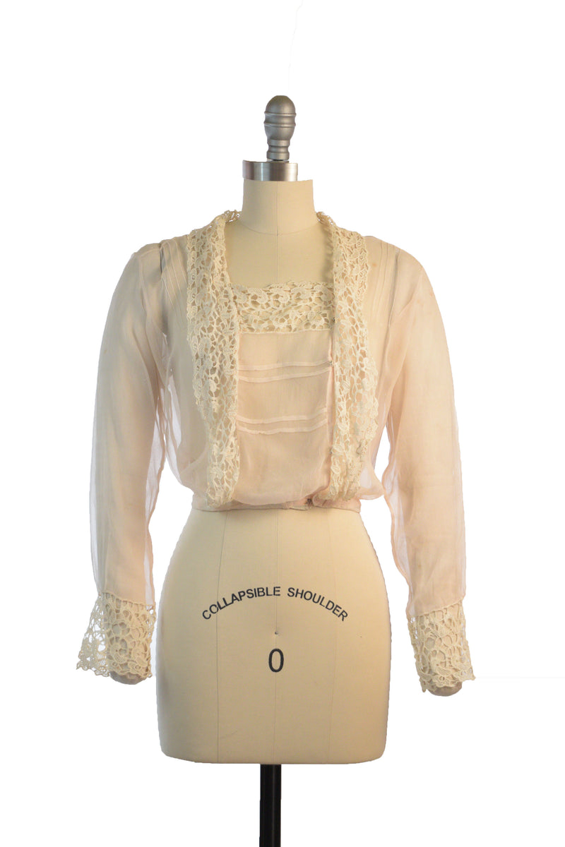 Layaway Deposit for Vintage Edwardian Coat - Rare Ivory Cashmere Early Cocoon Coat with Lame Trim and Decadent, Heavy Guipure Lace Trim