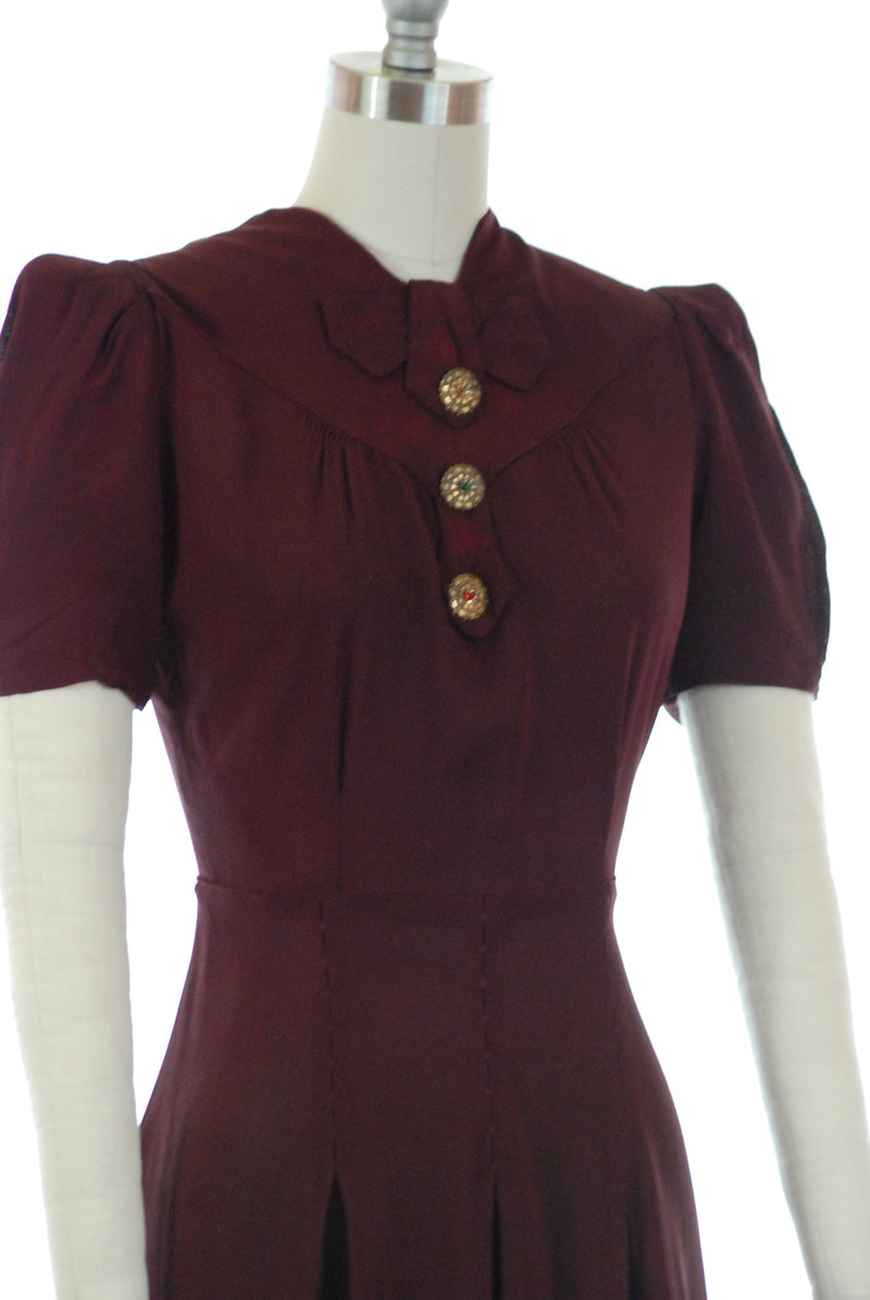 Sweet 1930s Deep Plum Dress with Puffed Sleeves