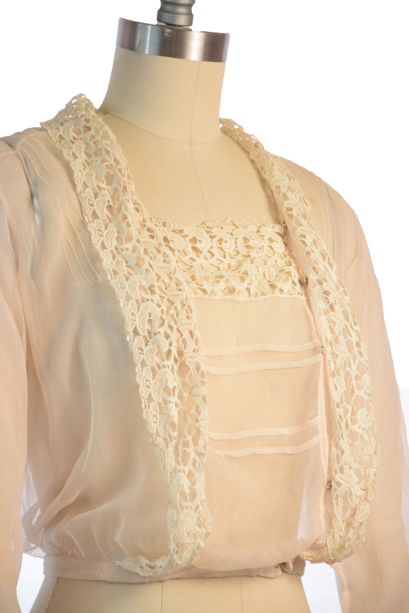 Lovely, Ethereal Pale Pink 1910s Edwardian Silk Chiffon Blouse As Is