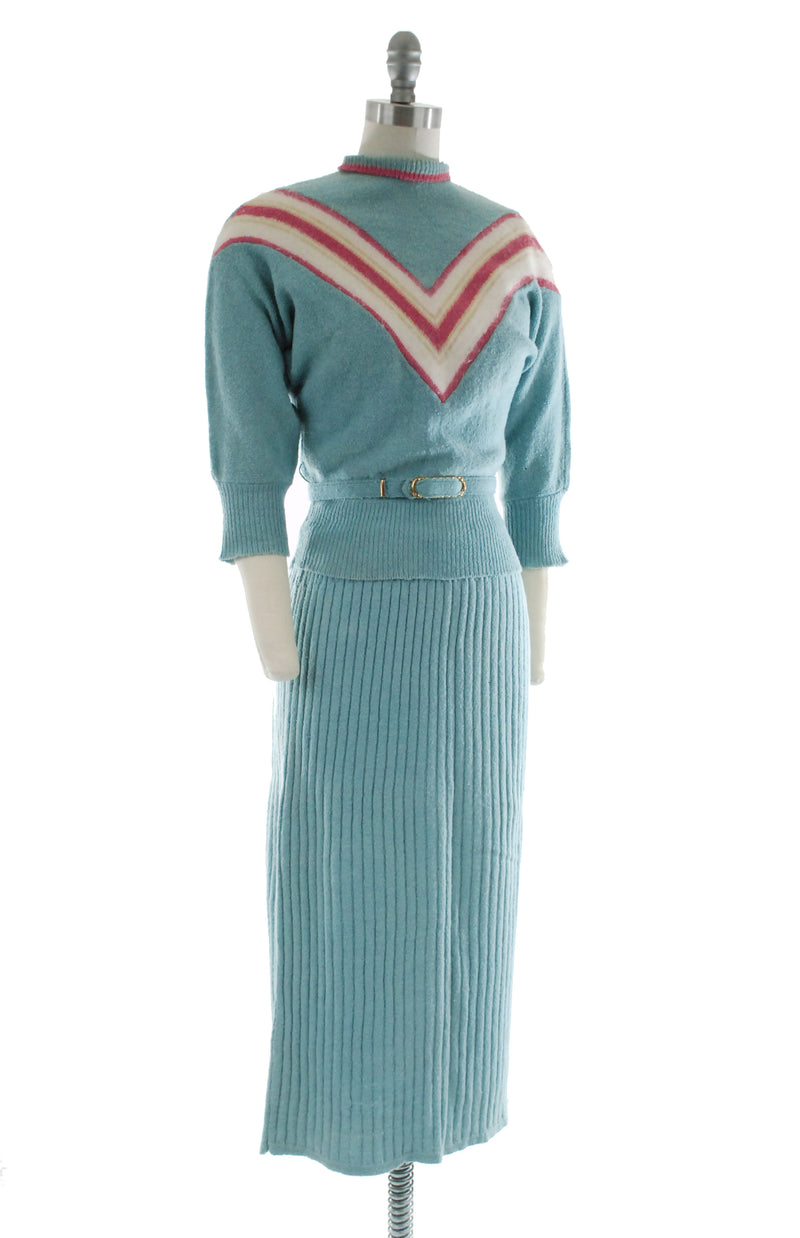 Coming Soon - Rare 1950s Candy Colored Colorblock Sweater Set in Wool with Angora Chevrons