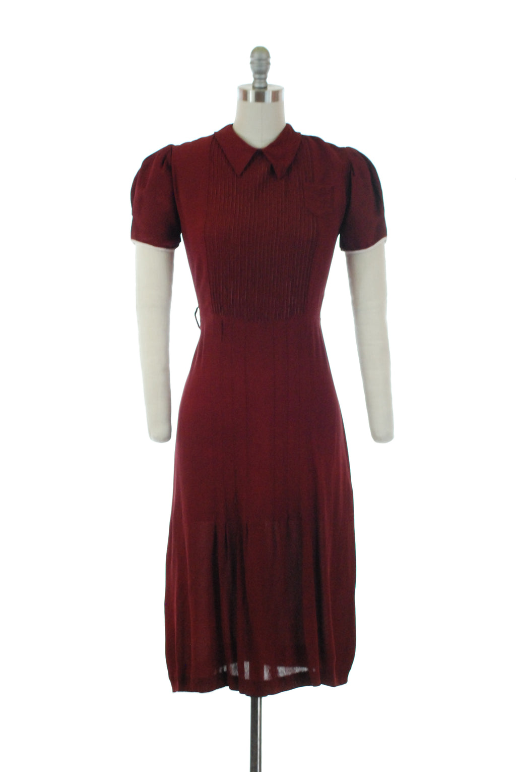Charming 1930s Deep Merlot Dress with Puffed Sleeves