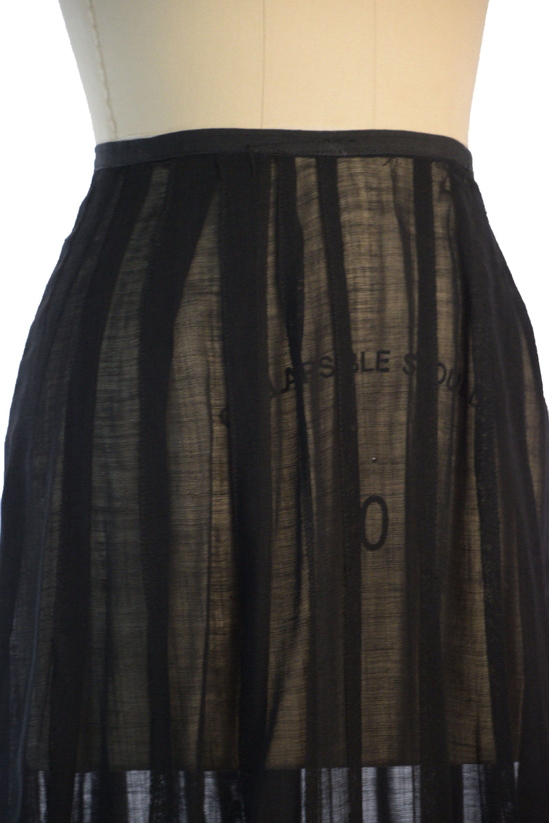 Exquisite and Sturdy Sheer Black Edwardian Skirt with Banded Silk and Button Accents