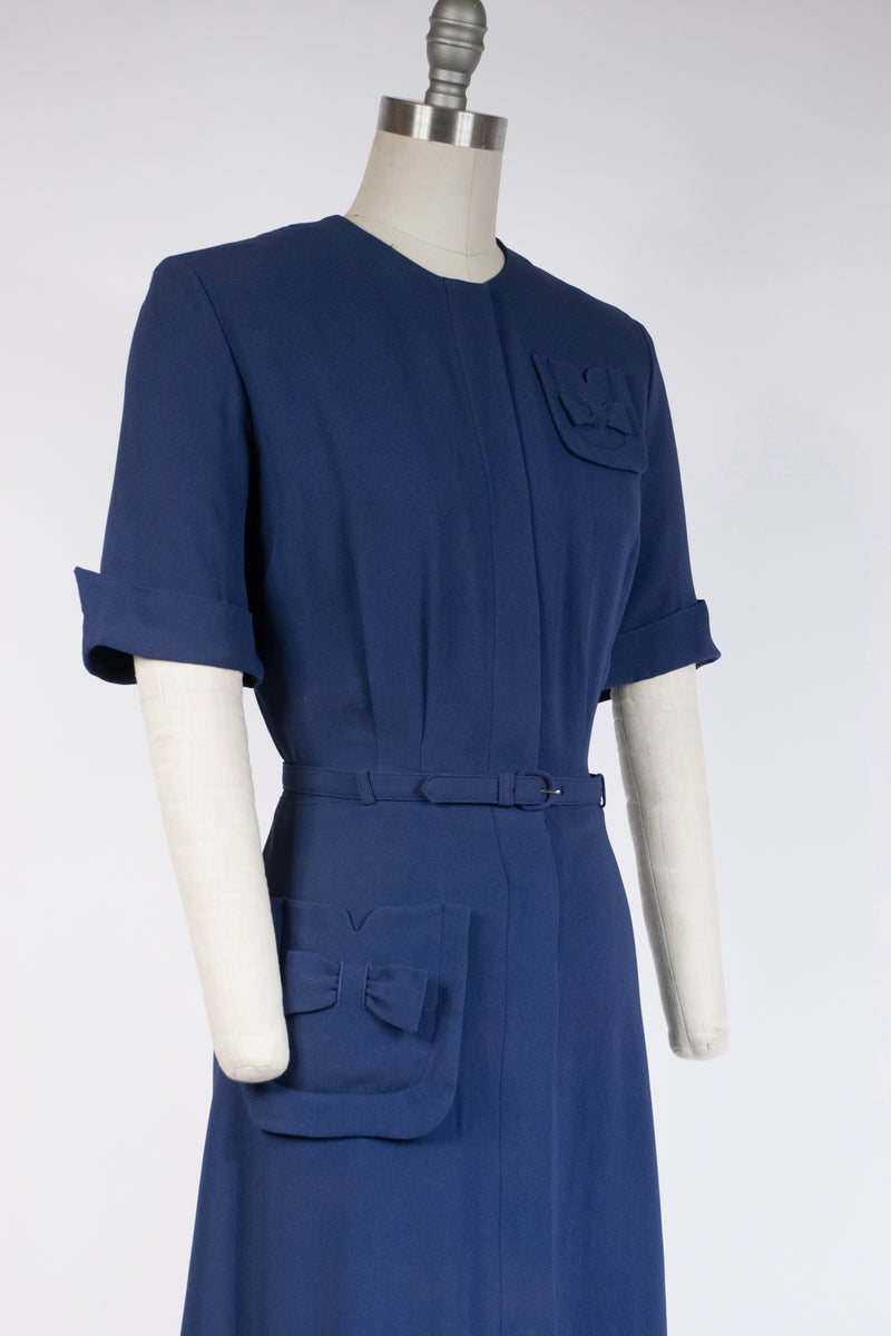 Smart 1940s Casual Day Dress of Dark Periwinkle Blue Asymmetric Pocket Accents