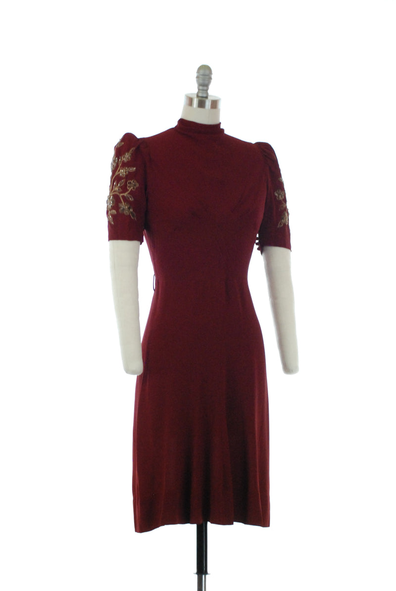 Breathtaking 1930s Bordeaux Dress with Gold Soutache and Sequined Sleeves