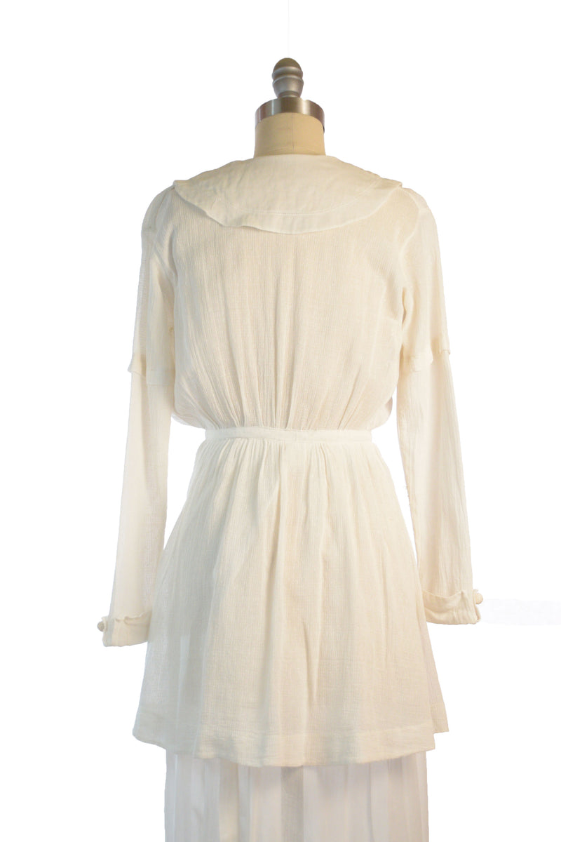 Gorgeous 1910s Dress c. 1912-13 with Asymmetric Buttons, Split Peplum and Draped Columnar Skirt