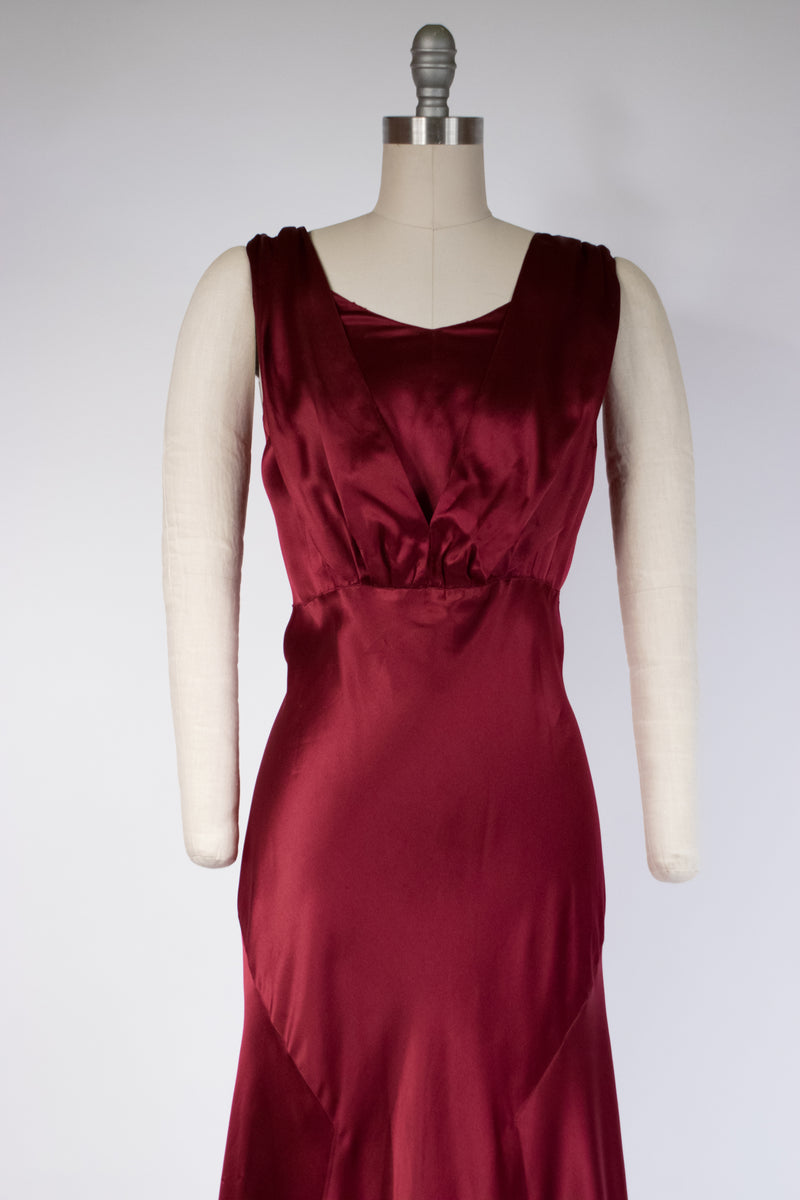 Lustrous 1930s Old Hollywood Evening Gown in Burgundy Bias Cut Silk Satin