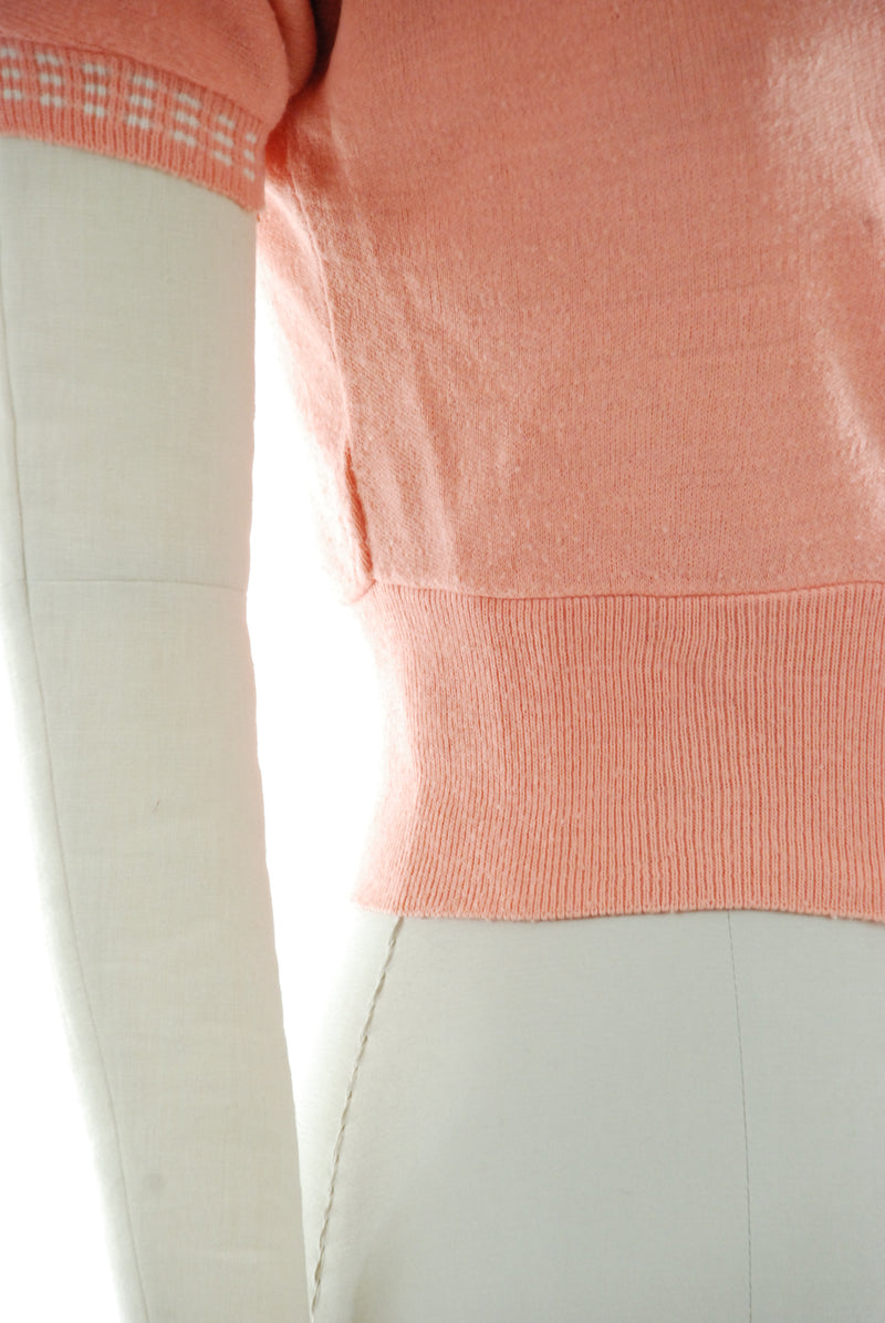 "1950s Coral Colored Cardigan with Short Sleeve and White ""Gingham"" Trim"