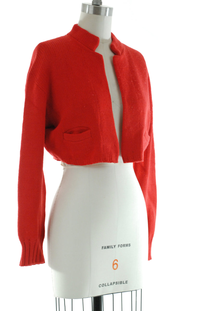 "Rare 1950s ""The Bobbilero"" Red Knit Bolero Sweater by Bobbie Brooks c. 1953"