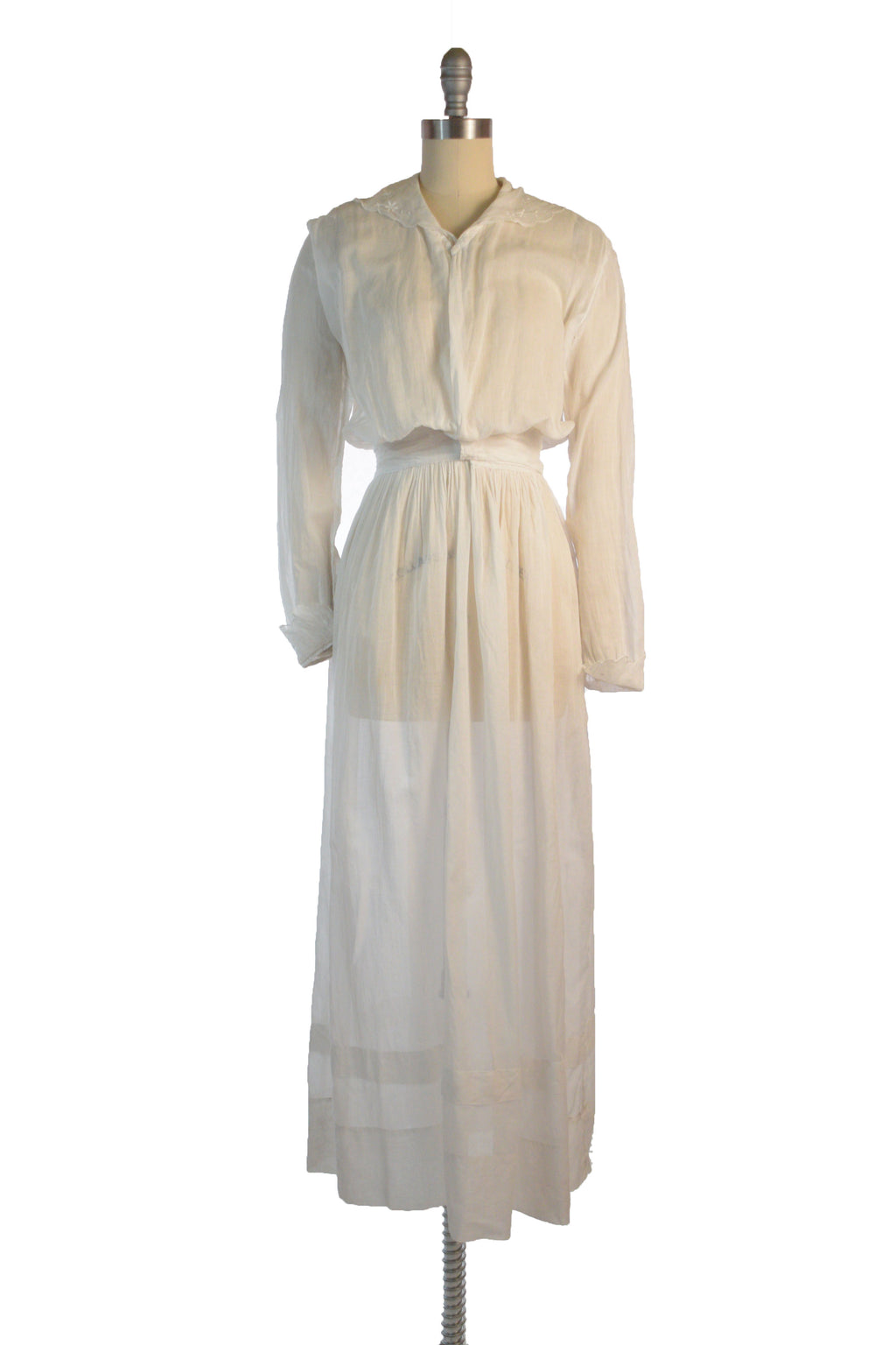 Simple, Lightweight 1910s Long Sleeved Cotton Lingerie Dress