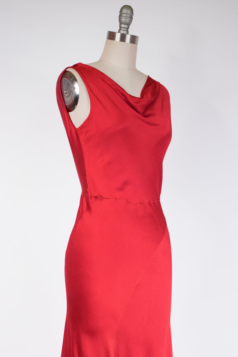 Deadly 1930s True Red Bias Cut Evening Gown of Hammered Silk Satin
