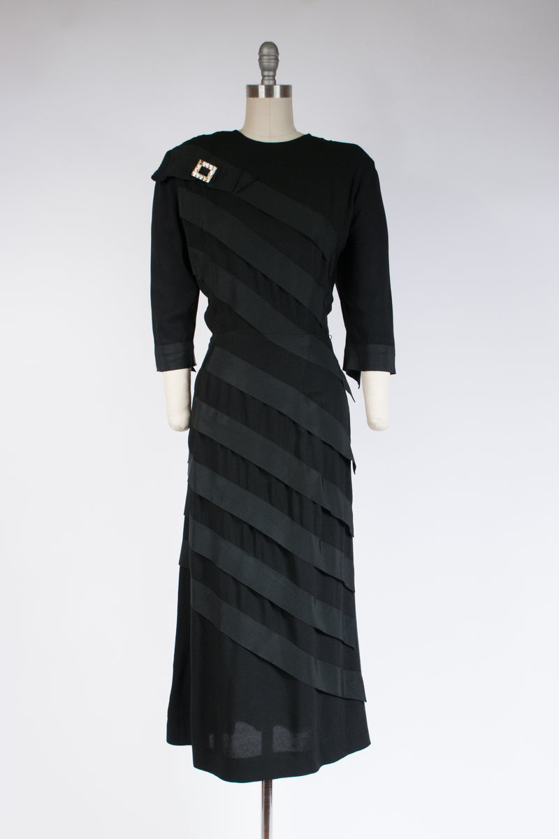 Dramatic 1940s Femme Fatale Benham Original Evening Dress in Black Rayon with Spiral Bands of Petersham
