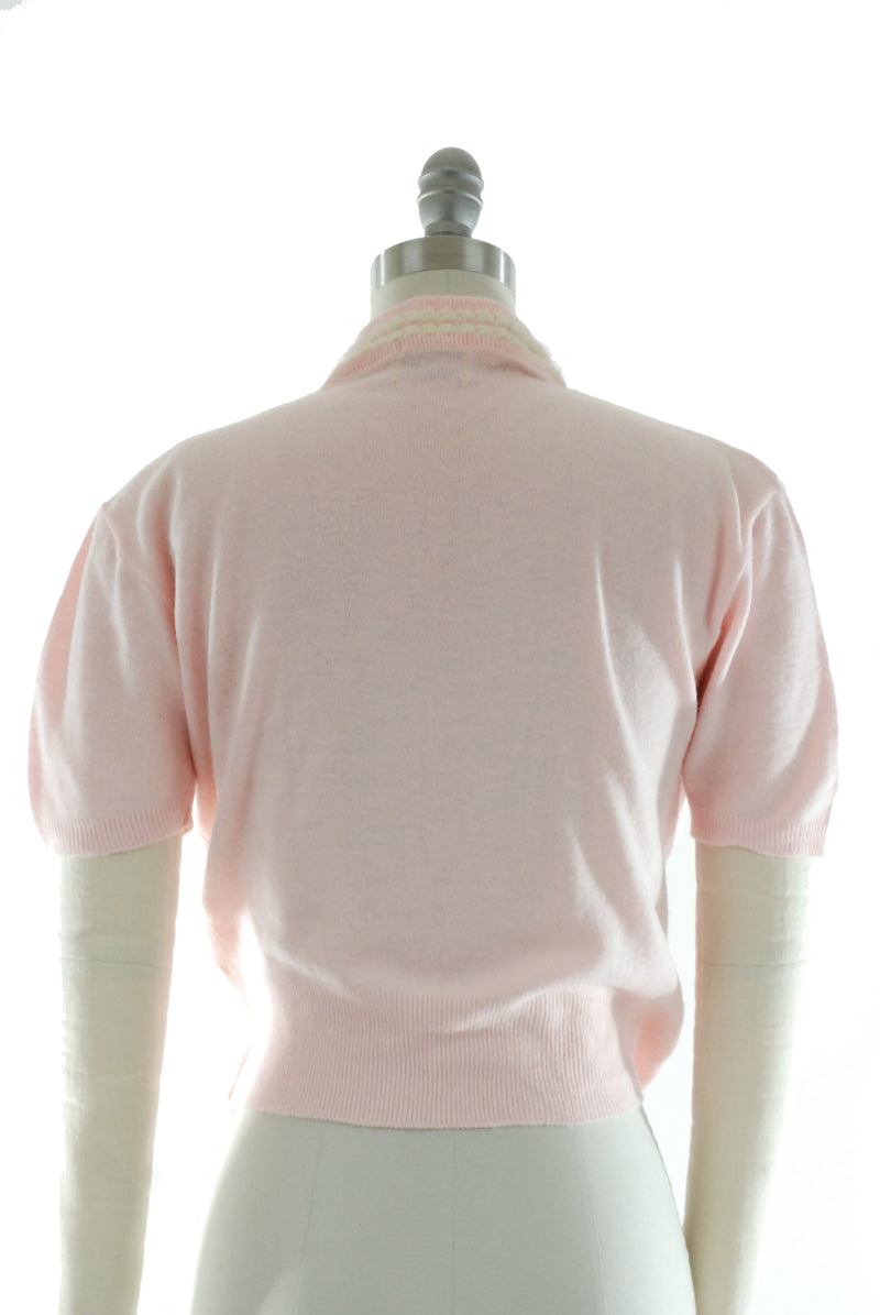 1950s Pink Orlon Pullover, Cute Short Sleeve Sweater with Angora Trim