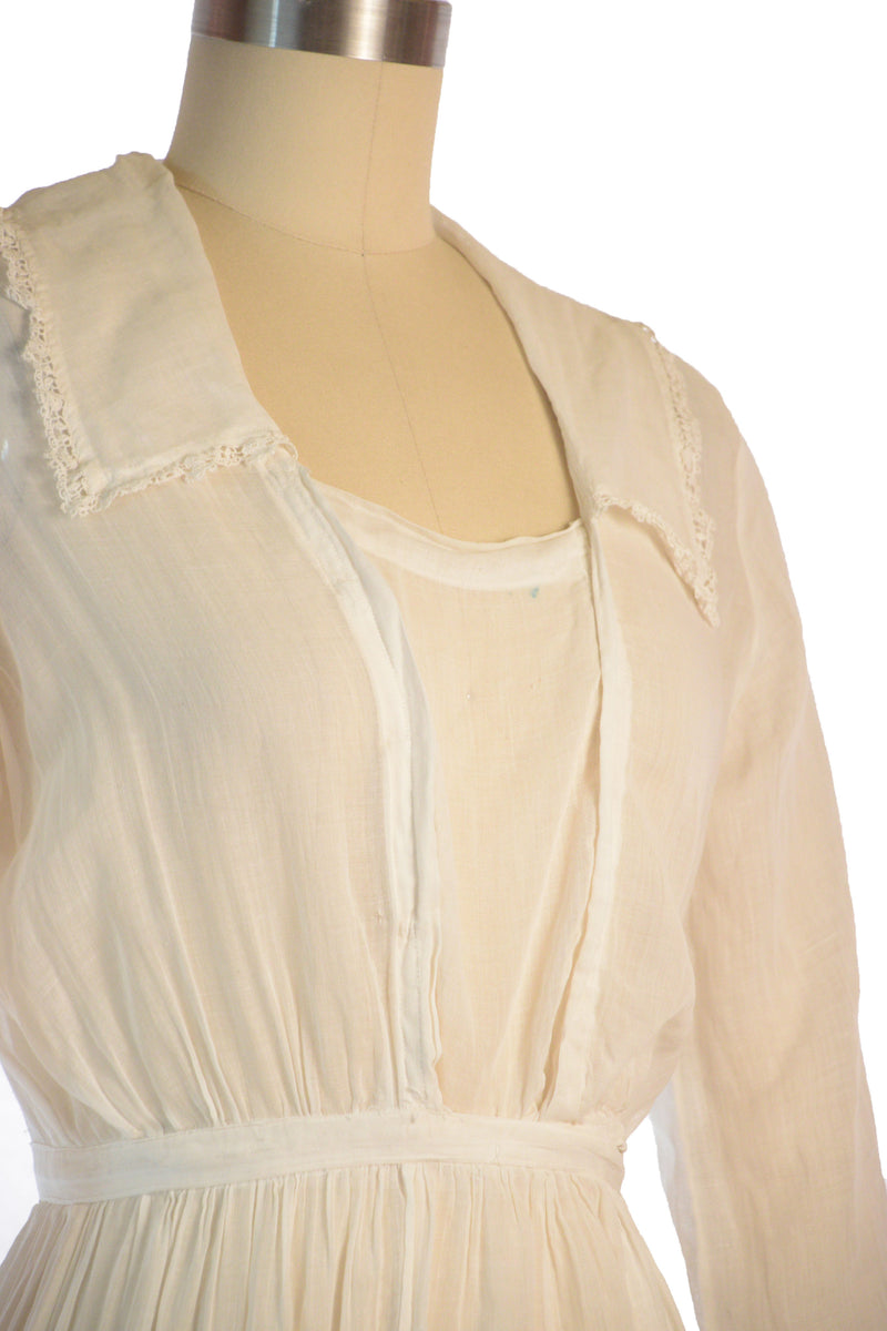 Lovely Mid 1910s Sheer White Cotton Lingerie Dress with Ruffled Skirt