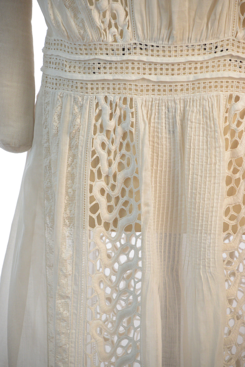 1920s Summer Dress in White Lingerie Cotton with Mixed Lace and Pintucks