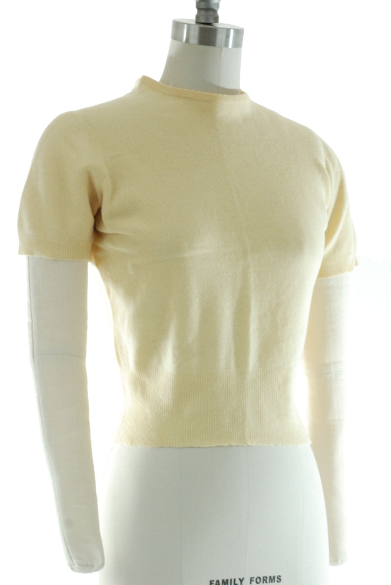 1950s Sweater in Buttery Yellow 100% Cashmere by Hadley Cashmere for Peck& Peck