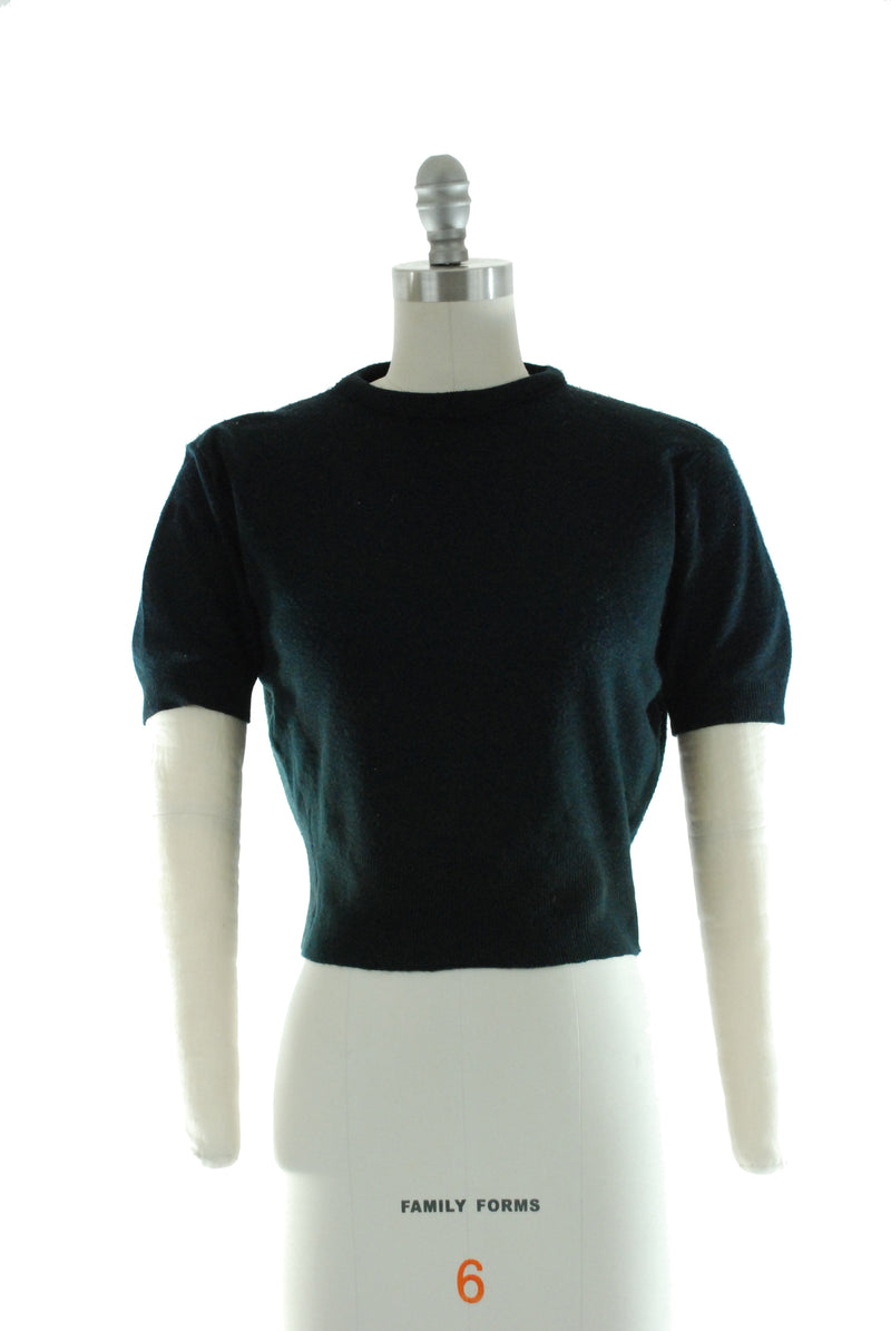 Quintessential 1950s Sweater Girl Black Orlon Knit Pullover Top