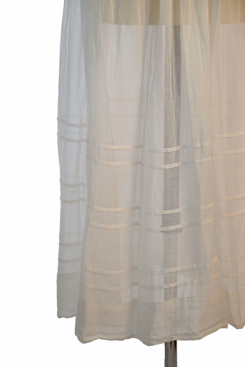Lovely Mid 1910s Sheer White Cotton Summer Lingerie dress with Mesh Net Lace Collar and Cuffs