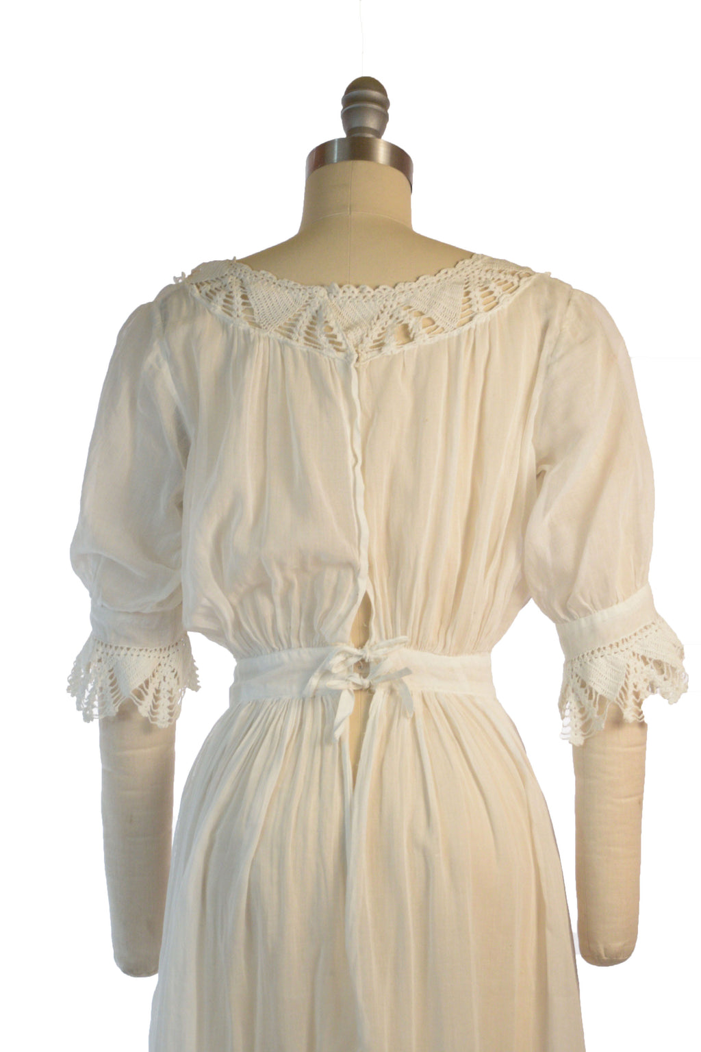 Sweet 1910s Simple Peasant Style Lingerie Dress or Underdress with Crocheted Collar and Cuffs